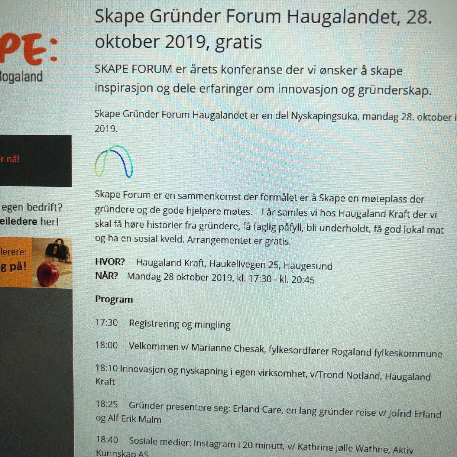 Skape Gründer Forum Haugesund Oktober 2019
